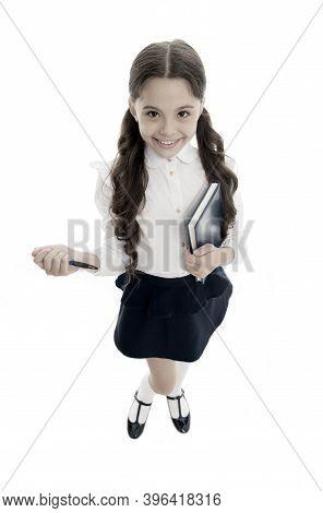 Write Note To Remember. Child School Uniform Smart Kid Happy Make Note. Child Girl Happy School Unif