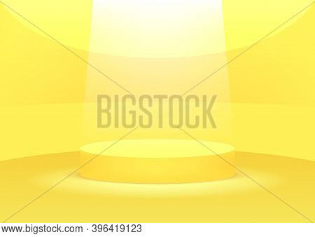 Empty Podium Studio Yellow Background For Product Display With Copy Space. Showroom Shoot Render. Ba