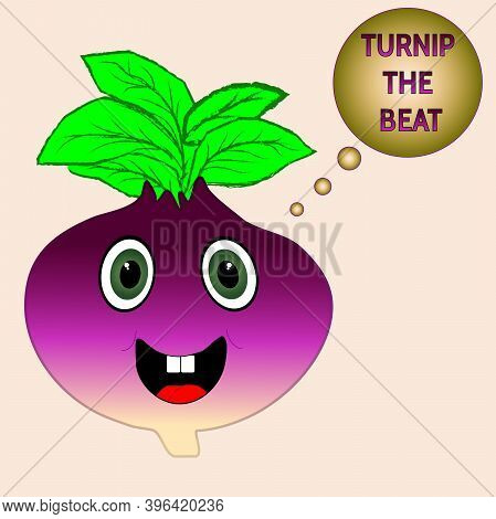 Turnip The Beat Pun On Light Orange Background
