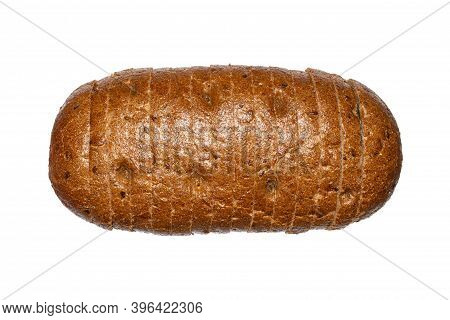 A Loaf Of Black Russian Bread On A White Background.black Bread Cut Into Pieces.loaf Of Bread With B