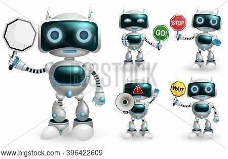 Robot Character Vector Set. Robotic Characters Showing Signage Symbol Like Go And Stop Placard Eleme