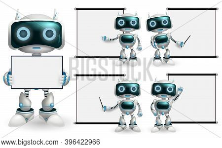 Robot Characters Presentation Vector Set. Robots Character With Robotic Pose And Gestures Showing Wh