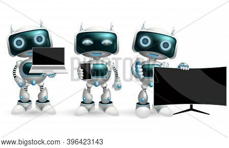Robot Characters Vector Set. Robotic Character With Modern Devices Like Smartphone, Television And L