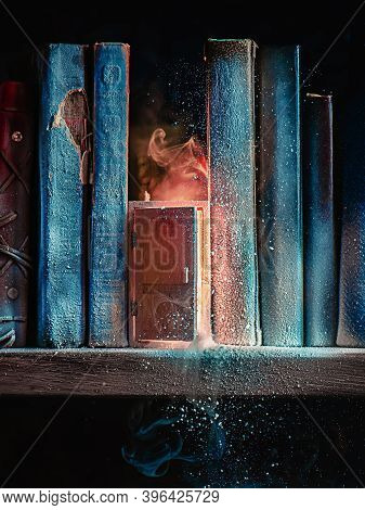 Door Into Summer On A Frozen Bookshelf, Escape And Hope Concept, Magical Still Life
