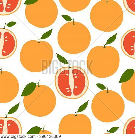 Fresh Grapefruit. Seamless Vector Pattern. Background With Grapefruits