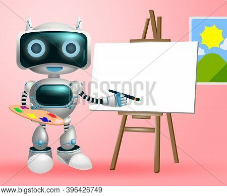Robot Painter Character Vector Background Design. Robotic Artistic Character In Painting Activity Fo