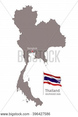 Silhouette Of Thailand Country Map. Highly Detailed Gray Map And National Flag And Bangkok Capital,