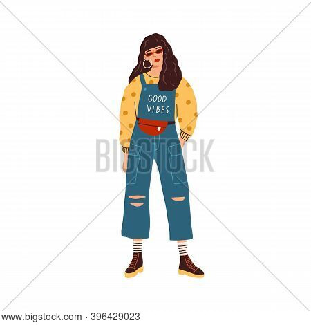 Modern Young Woman Wearing Ripped Jeans Overall, Sweater In Dots And Waist Bag. Fashionable Casual O