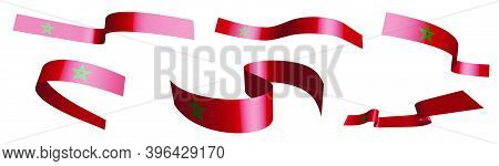 Set Of Holiday Ribbons. Morocco Flag Waving In Wind. Separation Into Lower And Upper Layers. Design