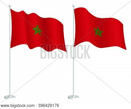 Morocco Flag On Flagpole Waving In Wind. Holiday Design Element. Checkpoint For Map Symbols. Isolate
