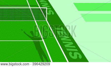 Tennis Player Threw Ball To Serve On Green Court. Outdoor Tennis Court. Sports Ground For Active Rec