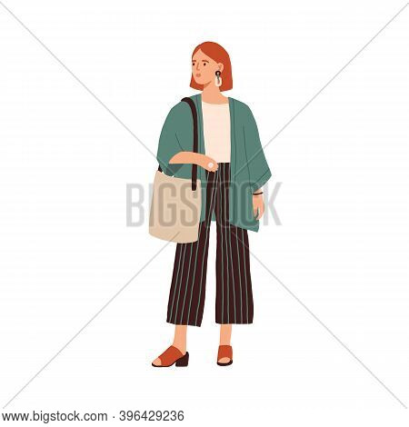 Modern Young Woman Wearing Casual Clothes. Fashionable Outfit. Stylish Redhead Female In Cardigan An