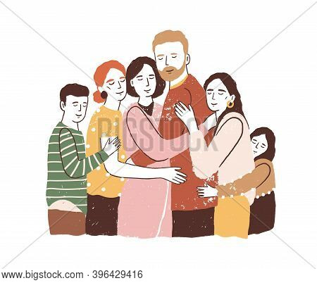 Reunion Concept. Big Family Embracing And Supporting Each Other. Parents With Children Have Happy He