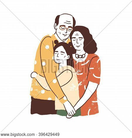 People Reunion Concept. Aged Parents Or Grandparents Embracing Their Daughter Or Granddaughter. Supp