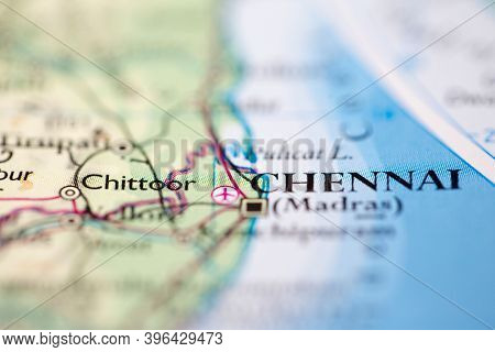 Shallow Depth Of Field Focus On Geographical Map Location Of Chennai India Asia Continent On Atlas
