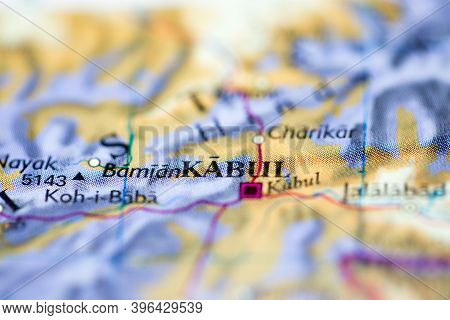 Shallow Depth Of Field Focus On Geographical Map Location Of Kabul Afghanistan Asia Continent On Atl