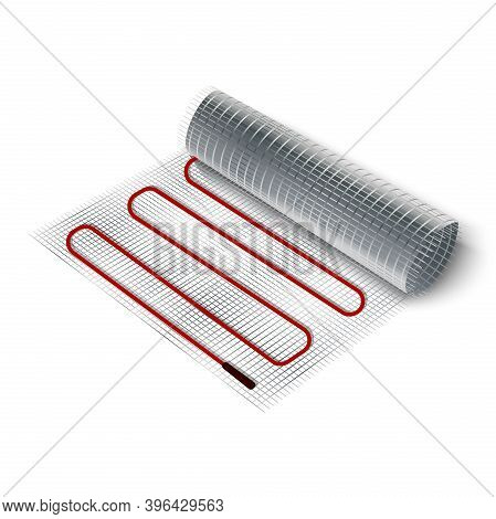3d Realistic Vector Icon Illustration Electric Floor Heating Roll.