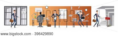 Vector Cartoon Flat Style Of Man Day In Life, Office Work Or Work From Home. Day Routine Infographic