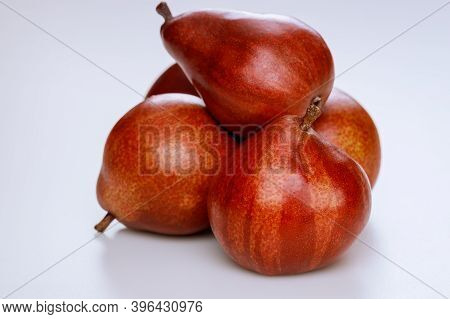 Juicy Red Pears Isolated On White Background. Produce Product.
