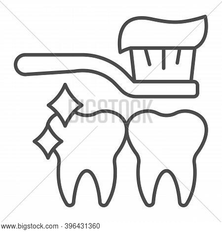 Toothbrush With Paste And Clean Teeth Thin Line Icon, Makeup Routine Concept, Tooth Care Sign On Whi