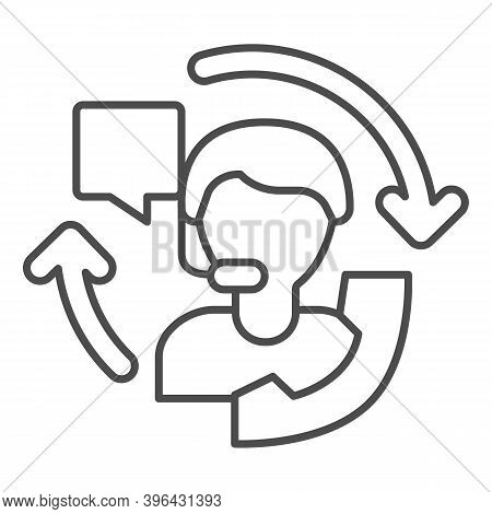 Customer Service Specialist Thin Line Icon, Black Friday Concept, Technical Support And Customer Ser