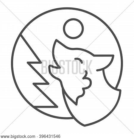 Wolf Howling At Moon Near Tree Thin Line Icon, Halloween Concept, Predator In Forest Sign On White B
