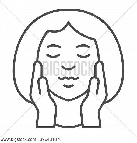 Girl Head And Hands On Cheeks Thin Line Icon, Makeup Routine Concept, Face Massage Sign On White Bac