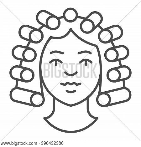 Hair Rollers On Girl Head Thin Line Icon, Makeup Routine Concept, Hairdresser Salon Sign On White Ba
