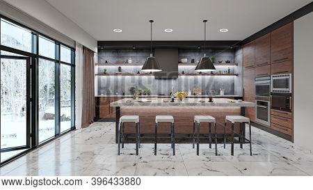 modern kitchen interior. 3d rendering design concept