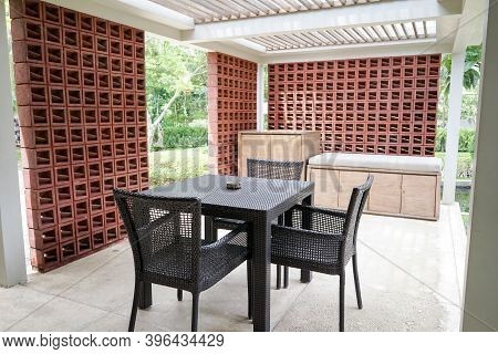 Outdoor Lounge Of Bungalow For Rest And Relaxation With Ventilation Wall Blocks