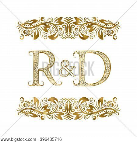 R And D Vintage Initials Logo Symbol. The Letters Are Surrounded By Ornamental Elements. Wedding Or