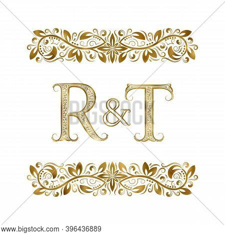 R And T Vintage Initials Logo Symbol. The Letters Are Surrounded By Ornamental Elements. Wedding Or