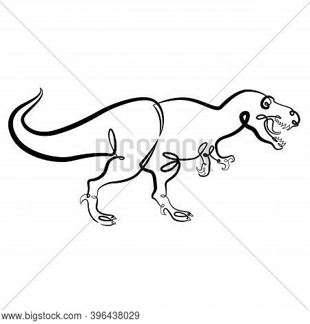 Prehistoric Reptile Tyrannosaurus Dinosaur With Open Mouth. Continuous One Line Brush Contour Ink Il
