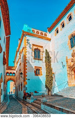 Sitges Town Hall And Church  Parish Of Saint Bartholomew And San