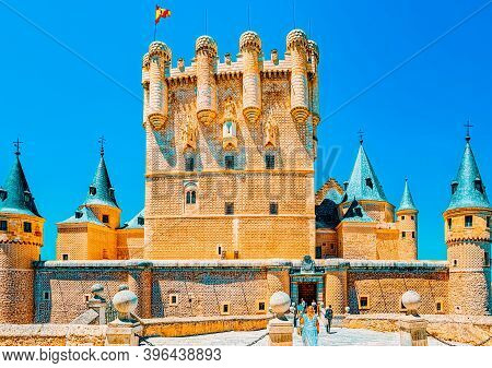 Panoramic Landscape At The Ancient City Segovia, Alcazar Of Sego