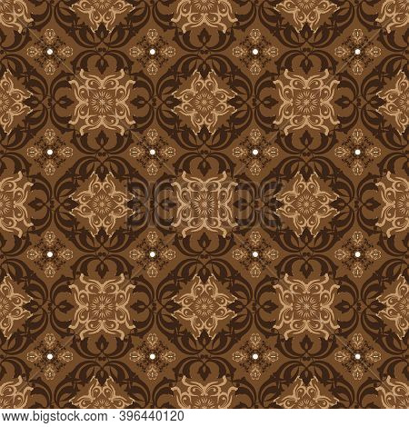 Elegant Flower Motifs Design On Bantul Batik With Modern Dark Brown Color Concept.