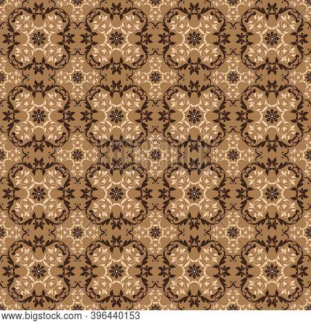 Vintage Flower Patterns On Parang Batik With Smooth Brown Color Design.