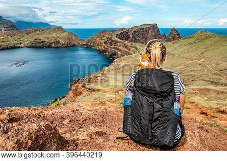 Girl Enjoing View Rocky Cliffs Clear Water Of Atlantic Ocean Bay Ponta De Sao Lourenco, The Island O