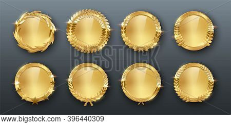 Award Golden Blank Medals 3d Realistic Illustration. First Place Medals With Laurel Leaves. Certifie