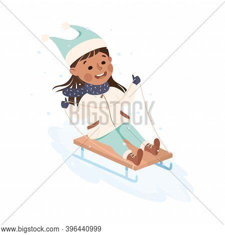 Excited Girl In Warm Clothing Sledging Or Sledding Downhill Vector Illustration