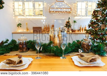 Gala Dinner. Cooking At Christmas. New Years Interior In The Kitchen. Decorations: Christmas Tree, G