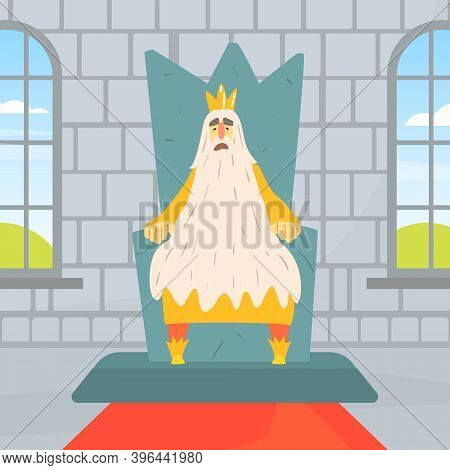 Funny Bearded Old King Character Sitting On Throne, Medieval Castle Interior Cartoon Vector Illustra