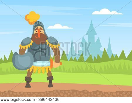 Medieval Knight Warrior In Armour Standing On Nature Landscape With Sword And Shield Cartoon Vector
