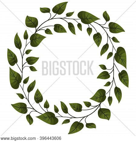 Foliate Wreath; Round Border With Green Leaves; Vector Illustration For Invitations, Greeting Cards,