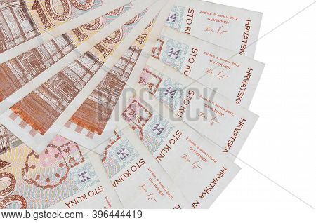 100 Croatian Kuna Bills Lies Isolated On White Background With Copy Space Stacked In Fan Shape Close