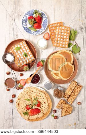assorted of crepe,  pancake and waffle