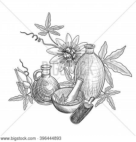 Vector Drawing Passion Fruit Oil, Bottles Of Vegetable Oil, Passiflora Flower And Leaves, Mortar And