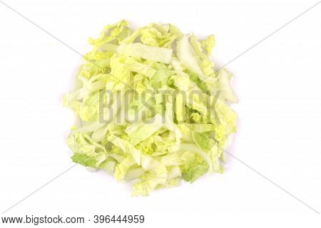 Heap Of Chopped Chinese Cabbage, Napa Cabbage Or Wombok Isolated On White Background. Fresh Green Sl