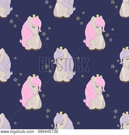 Seamless Pattern With Cute Ponies Among The Stars. Decorative Wallpaper For The Nursery In The Scand