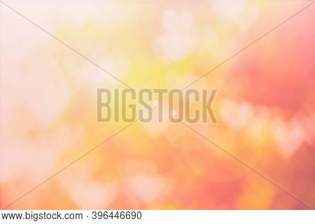 Blurred Background Of Valentine's Day Concept. Pink Valentines Day Card. Pastel Color Tone Soft Have